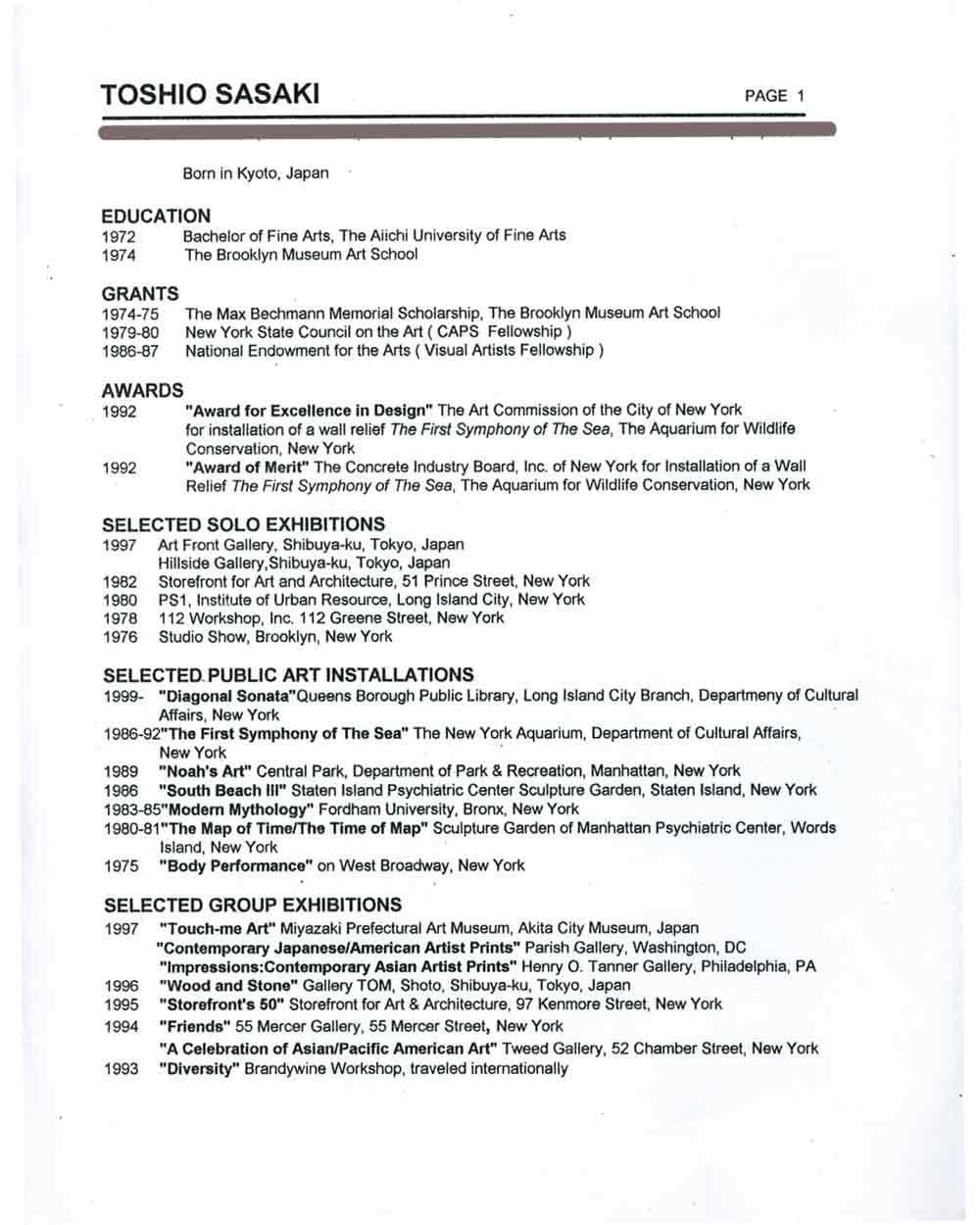 Toshio Sasaki's resume, pg 1
